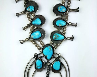 Huge Vintage 1960- 1970s Native American Navajo handmade Sterling Silver Morenci Turquoise Squash Blossom