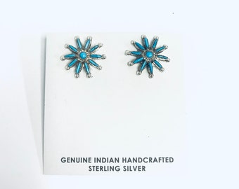 Native American Zuni needlepoint handmade Turquoise and sterling silver stud earrings