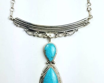 Native American Navajo handmade Sterling Silver Necklace set with genuine Turquoise by Tony Lewis