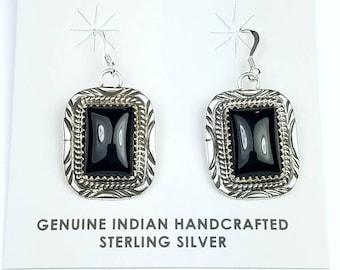 Native American Navajo handmade Sterling Silver Black Onyx stone dangle drop earrings