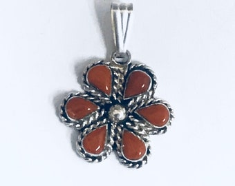 Native American Handmade Zuni Sterling Silver Coral Needlepoint  Pendant