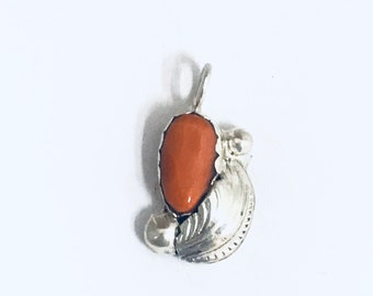 Native American Navajo Handmade Sterling Silver Coral Pendant