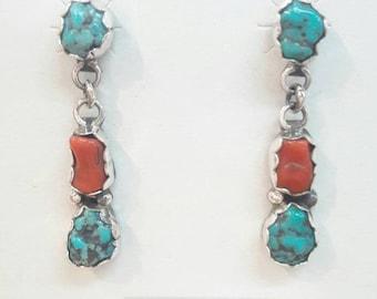 Native American Navajo Handmade Sterling Silver Multi-Stone Dangle Earrings
