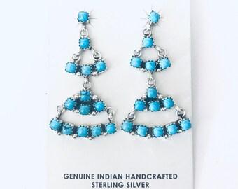 Native American Zuni handmade sterling silver and Sleeping Beauty dangle earrings
