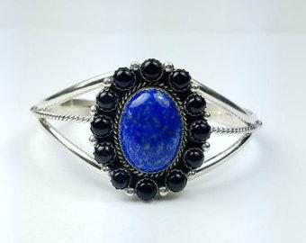 Native American Navajo handmade Sterling Silver multi-stone bracelet