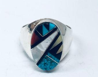 Native American Zuni handmade sterling silver multi colored men's/women's ring