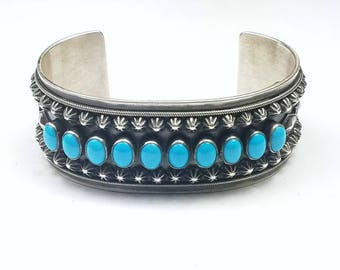 Native American Navajo handmade Sterling Silver high grade Sleeping Beauty Turquoise cuff bracelet