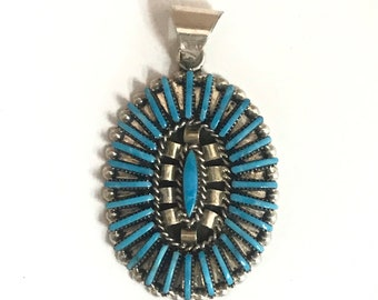 Native American Zuni Handmade Sterling Silver Sleeping Beauty Turquoise Needlepoint Pendant