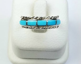 Native American Zuni handmade Sterling Silver inlay Turquoise ring