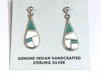 Native American Navajo Handmade Sterling Silver Turquoise White Buffalo Inlay Dangle Earring
