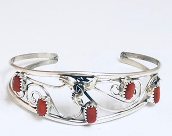 Native American Navajo Handmade Sterling Silver and Coral Cuff Bracelet