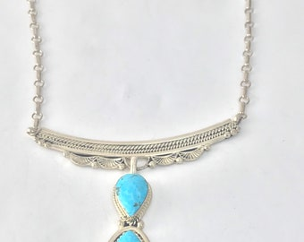 Native American Navajo Handmade Sterling Silver Turquoise Necklace