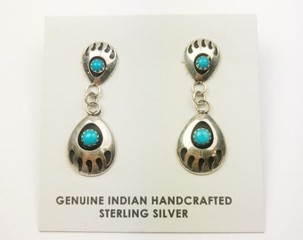 Native American Navajo Handmade Sterling Silver Nevada Bearpaw Earrings