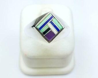 Native American Zuni handmade Sterling Silver multi-stone inlay ring