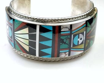 Native American Zuni handmade Sterling Silver channel inlay multi-stone 1980's cuff bracelet