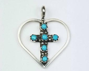 Native American Zuni handmade Sterling Silver petit point Turquoise Cross Heart pendant