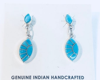 Native Americans are any handmade sterling silver and turquoise dangle earrings