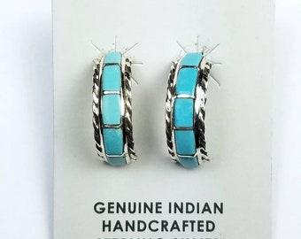 Native American Zuni handmade Sterling Silver inlay Turquoise stone half hoop stud earrings