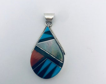 Native American sterling silver Zuni inlay multi stone signed pendant