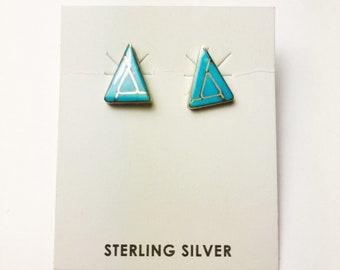 Native American Navajo Handmade Sterling Silver Kingman Earrings