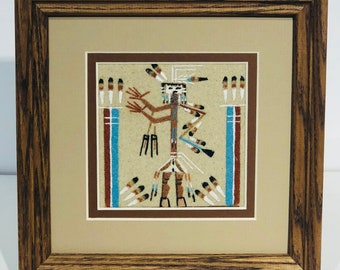 Navajo Handmade Beautiful Sand Painting Artwork. YES, it's all real sand.