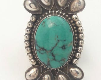 Vintage Native American Navajo Handmade Sterling Silver Turquoise Ring