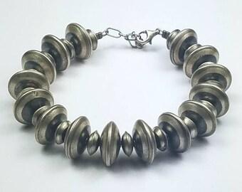 Native American Navajo handmade Sterling Silver bead bracelet