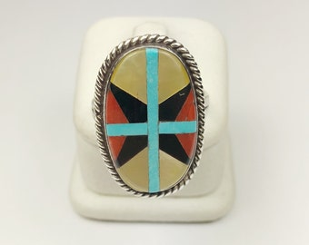 Native American Navajo Handmade Sterling Silver Turquoise, MOP, Coral Inlay Ring