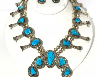 Vintage Native American Navajo handmade sterling silver sleeping beauty turquoise squash blossom 2pc necklace set