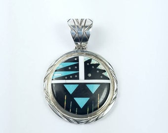 Native American Navajo handmade Sterling Silver multi-stone inlay pendant by Calvin Begay