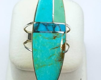 Native American Navajo handmade Sterling Silver Turquoise inlay ring