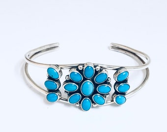 Native American Navajo Handmade Sterling Silver and Turquoise Bracelet