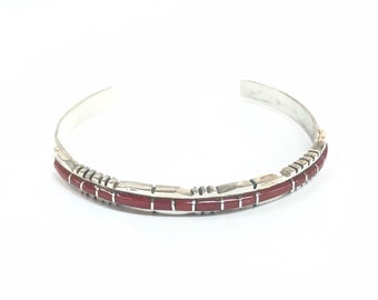Native American Zuni handmade sterling silver bracelet inlaid with Coral