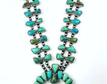Native American Navajo handmade Sterling Silver Tyrone and Fox Turquoise Squash Blossom necklace