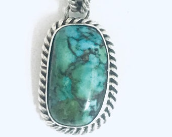 Native American Navajo Handmade Sterling Silver Turquoise Pendant