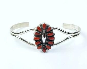 Native American Zuni handmade Sterling Silver Coral bracelet