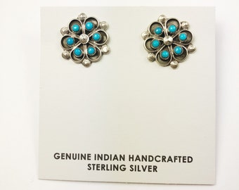 Native American Navajo Handmade Sterling Silver Cerillos Earrings