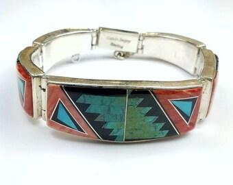 Native American Navajo handmade Sterling Silver inlay multi-stone link bracelet