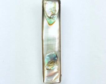 Native American Navajo handmade Sterling Silver Abalone Shell inlay pendant