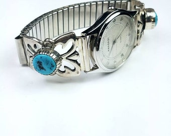 Native American Navajo handmade Sterling Silver Kingman Turquoise stone watch