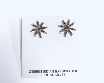 Native American Zuni Needlepoint handmade sterling silver and Coral stud earrings