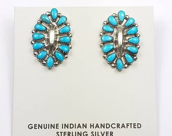 Native American Zuni handmade Sterling Silver Turquoise post earrings