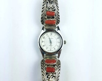 Native American Navajo handmade Sterling Silver Coral stone watch
