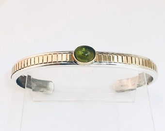 Native American Handmade Navajo Sterling Silver with 14kt Gold Overlay and Peridot Cuff Bracelet