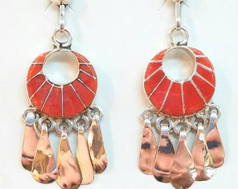 Native American Zuni Handmade Sterling Silver Coral Inlay Earrings