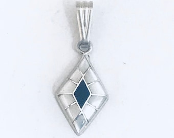 Native American Zuni Handmade Sterling Silver Onyx Mother of Pearl Shell Pendant