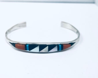 Native American Zuni handmade sterling silver And Mediterranean coral, Turquoise inlay cuff bracelet