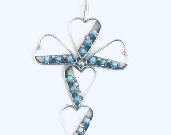 Native American Zuni Handmade Sterling Silver Turquoise Petit Point Cross Pendant