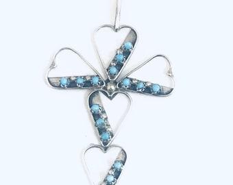Native American Zuni Handmade Sterling Silver Turquoise Petit Point Cross Pendant
