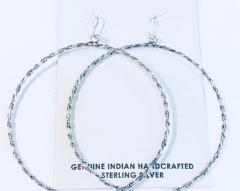 Native American Navajo handmade sterling silver hoop earrings